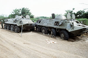 English: Soviet-built BTR-60 armored personnel...