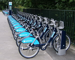 English: Boris Bikes docked at Hyde Park, Lond...