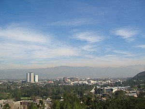 The city of Burbank, CA looking east from Univ...