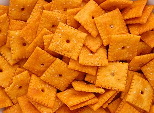 English: A pile of Cheez-It crackers made by K...