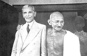 English: Gandhi and Jinnah in Bombay, Septembe...