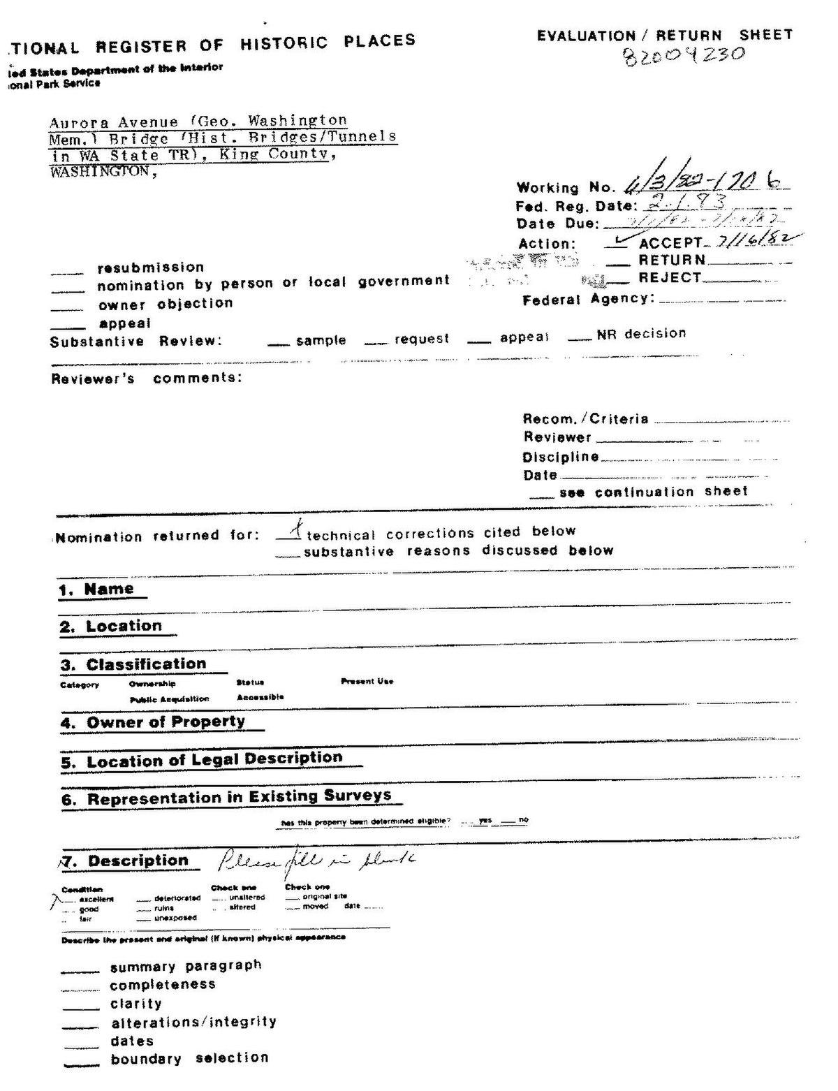 File George Washington Memorial Bridge Nomination Form