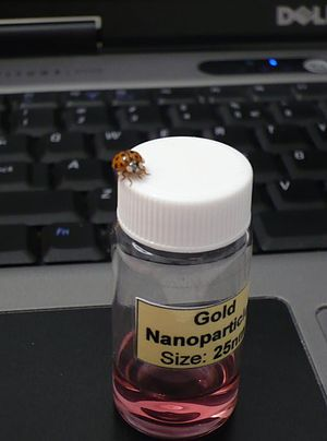 Picture of solution containing gold nanoparticles.