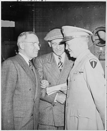 L to R, President Harry S. Truman, Press Secre...