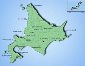 Map of Hokkaido showing the subprefectures and...