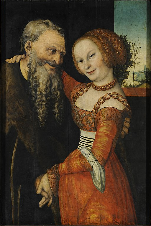 """An ill-matched Pair"" by Lucas Cranach the Elder"