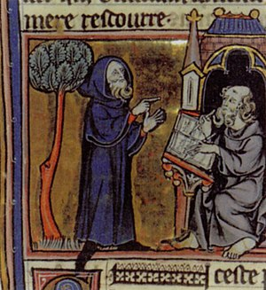 Merlin dictating his prophecies to his scribe,...