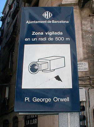 Placa George Orwell in Barcelona, Spain is wat...