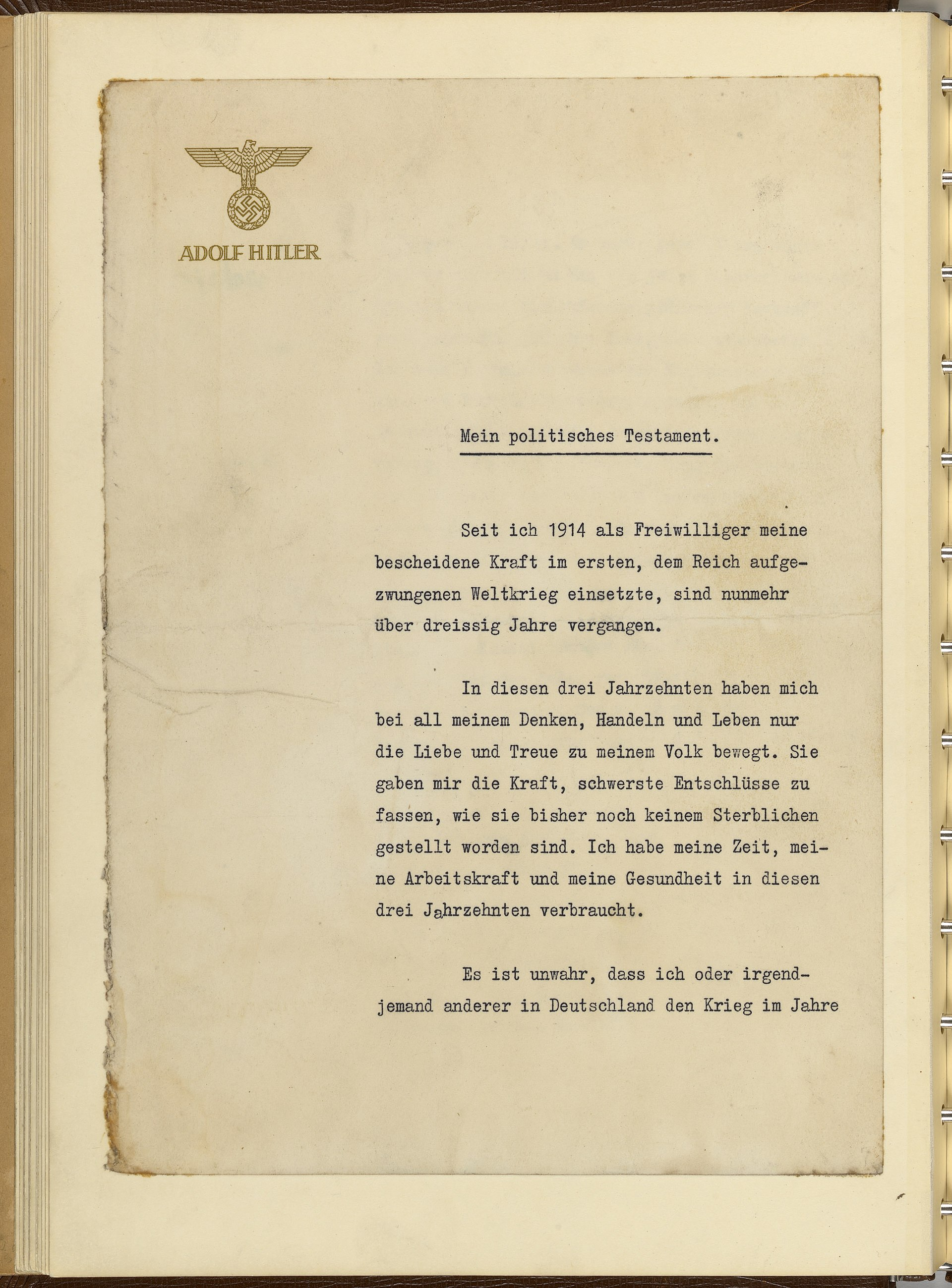 Last Will And Testament Of Adolf Hitler Wikipedia