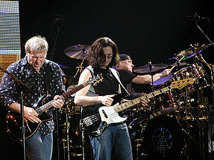 Canadian rock band Rush, in concert in Milan, ...