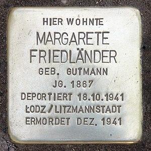 Deutsch: Stolperstein, Margarete Friedländer, ...