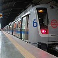Front view of a Delhi Metro Train