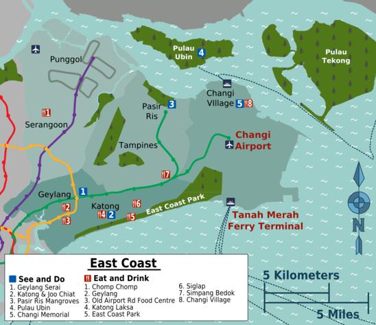 Map Of Singapore East Coast