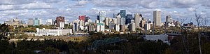 This is a panorama of the downtown Edmonton Sk...