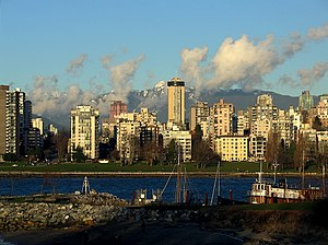 Apartment buildings in the English Bay area of...