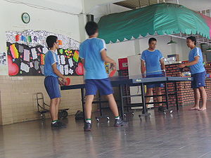 Indonesian High School Students play ping-pong