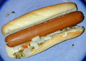 "A ""home-cooked"" hot dog sausage with..."