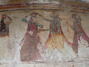 English: Ancient Shiva Temple roof paintings, ...