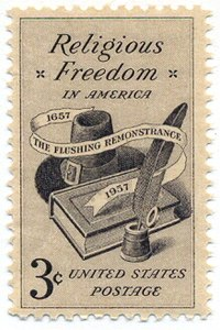 A U.S. Postage Stamp commemorating religious freedom and the Flushing Remonstrance.