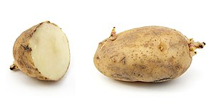 1 and a half russet potato with sprouts. Slice...