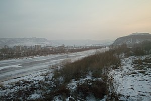 The Tumen River, at the border between North K...
