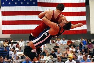 A Greco-Roman wrestling match in the United States