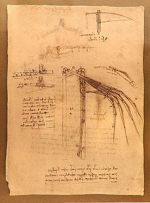 English: Design for a flying machine Codex Atl...