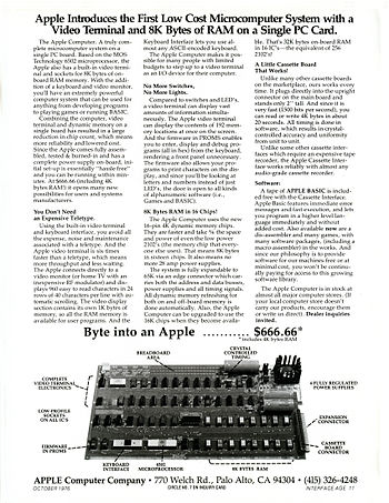 Introductory Apple 1 Computer advertisement pu...