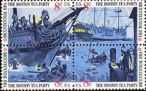 English: US Postage stamps, Boston Tea Party, ...