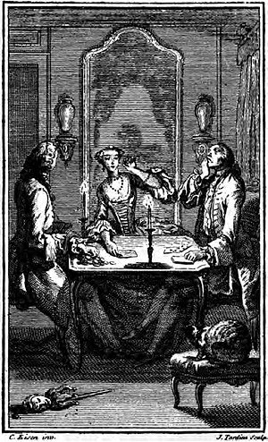Candide being swindled (in Voltaire's Candide,...
