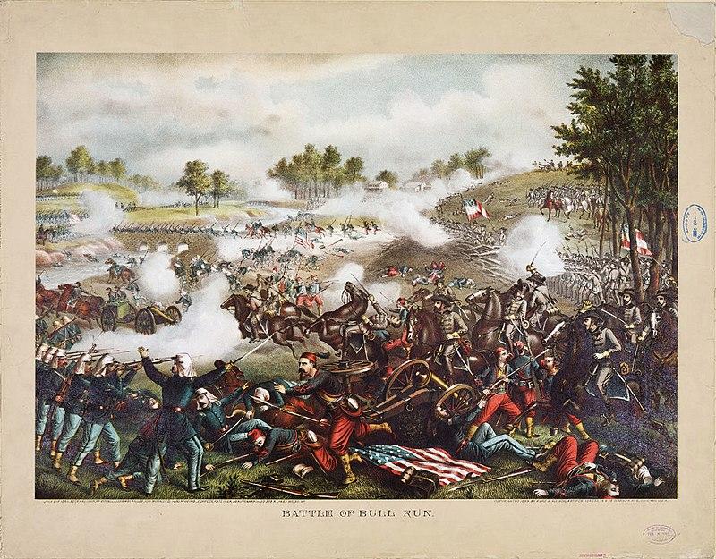 First Battle of Bull Run, chromolithograph by Kurz & Allison.