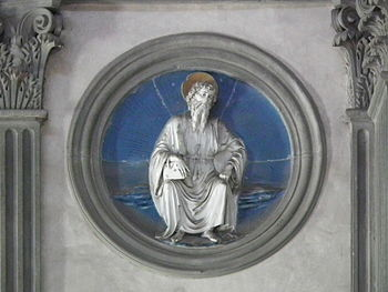 Tondo of an apostle by Luca della Robbia in th...