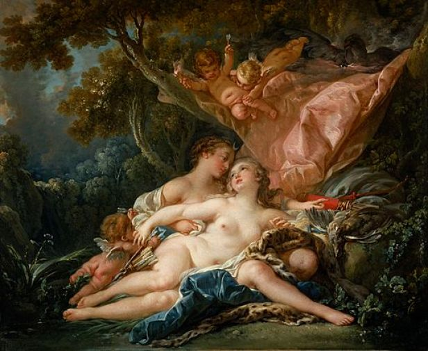"""Jupiter in the Guise of Diana, and the Nymph Callisto"""" by François Boucher"""