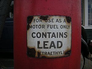 Lead warning on a gas pump at Keeler's Korner,...