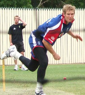 Matthew Hoggard bowling in the nets at Adelaid...