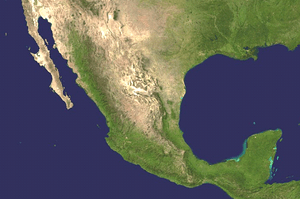 A picture of Mexico as seen from outer space.