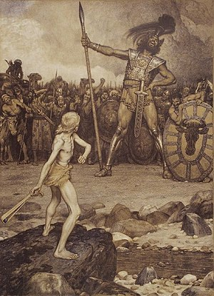 David and Goliath, a colour lithograph by Osma...