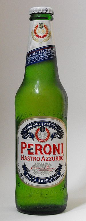 Peroni Nastro Azzurro beer bottle. This bottle...