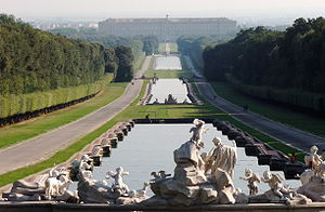 The Reggia of Caserta. Statues in the garden.