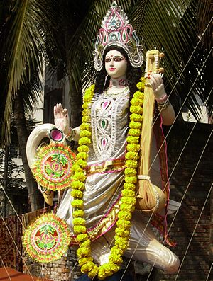Saraswati ist the Hindu Goddess of learning, s...