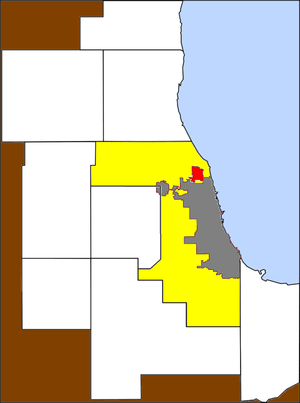 Skokie and Chicago on Chicagoland map
