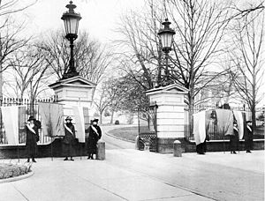 Suffragists picketing the White House, January...
