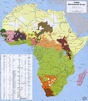 English: Ethnic groups of Africa in 1996. Prin...