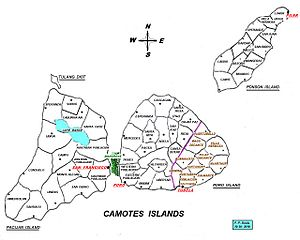 detailed map of camotes islands