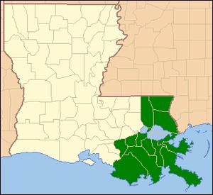 Locator Map of Louisiana, United States, hilig...