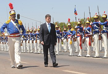 The president of Colombia Juan Manuel Santos r...