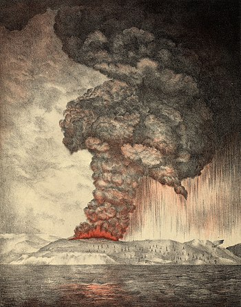 English: An 1888 lithograph of the 1883 erupti...