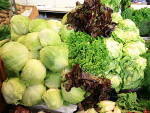 Different sorts of lettuce at a market in Hels...