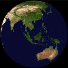 Malaysia on a satellite map globe