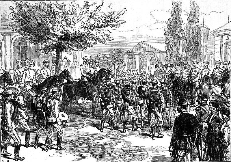 Файл: русские войска маршируют мимо императора Александра II и великого князя Николая на Ploesti.jpg